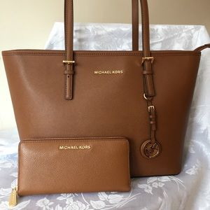 Michael Kors Large Travel Zip Top Tote and Wallet